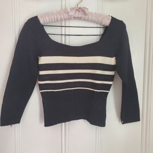 NWOT Black & White Striped Cropped Sweater